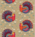 Happy Thanksgiving seamless pattern with turkey vector image