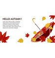 hello autumn poster with text and decorative leaf vector image