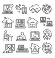 home working line icons on white background vector image vector image