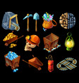 isometric mining game elemens set vector image vector image