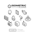 Isometric outline icons set 50 vector image vector image