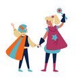 kids wearing colorful costumes superheroes vector image