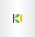 letter k tree leaf logo vector image vector image