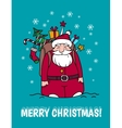 Merry Christmas card with Santa Claus and gifts vector image vector image