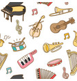 musical instrument seamless pattern background vector image