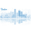 Outline Boston Skyline with Blue Buildings vector image vector image