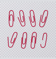 paper clips isolated on transparent background vector image vector image