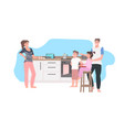 parents with children preparing food family vector image