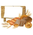 Pastries wooden board sign vector image vector image