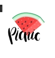 Picnic lettering and a slice of watermelon vector image