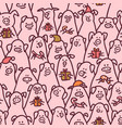 pig seamless pattern funny pigs with candy canes vector image vector image