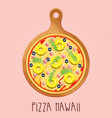 real pizza hawaii on wooden board vector image vector image