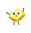 sandwich cartoon character vector image vector image