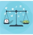 Scale weighing money and time vector image vector image