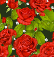 Seamless pattern of red roses on a dark green vector image vector image