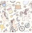 Seamless unicorn pattern vector image