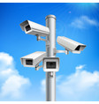 security cameras realistic composition vector image vector image