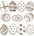 set sketch easter eggs icons vector image