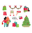 shopping set for christmas shopping season and vector image