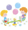 small children on a toy swing on a playground vector image vector image
