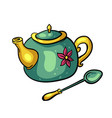 teapot and tea spoon vector image