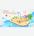 thailand festival songkran sand pagoda and kite vector image vector image