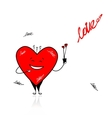 Valentine day Funny heart with bouquet for your vector image