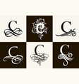 vintage set capital letter c for monograms and vector image vector image