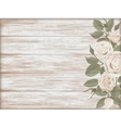 Vintage wooden background white rose bud vector image vector image