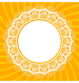 White lace doily on an orange background with rays vector image vector image
