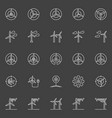 wind generator and turbine icons vector image