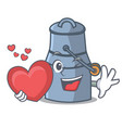 with heart milk can mascot cartoon vector image vector image