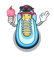with ice cream cartoon pair of casual sneakers vector image