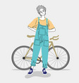 woman standing outdoors in a city with her bike vector image vector image