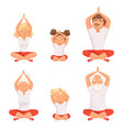 yoga family parents and kids making exercises of vector image vector image