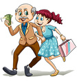 Young lady with her sugar daddy vector image vector image
