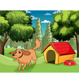 A dog playing outside a dog house vector image vector image