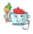 artist steel pot character cartoon vector image