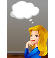 Beautiful woman and speech bubble vector image