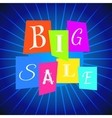 Big Sale Words from Color Paper over Blue vector image