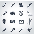 black art tool icon set vector image vector image