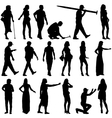 Black silhouettes of beautiful mans and womans on vector image vector image