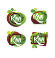 bright sticker emblem and logo for kiwi fruit vector image vector image