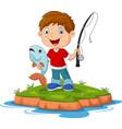 cartoon happy little boy fishing vector image