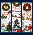 christmas wreath greeting banner for xmas holidays vector image vector image
