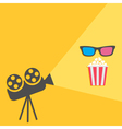 Cinema projector with light and popcorn 3D glass vector image