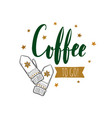 coffee to go emblem vector image