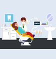dental clinic with doctor and patient dental vector image