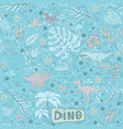 dinosaur seamless pattern on a blue tones vector image vector image