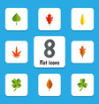 flat icon leaves set of linden frond hickory and vector image vector image